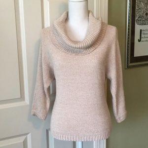 Light pale plink cowl neck sweater
